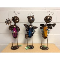 Metal Solar Bee Decor with Glass