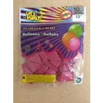 """12"""" Round Balloons - Metallic Pink ~ 10 per pack"""