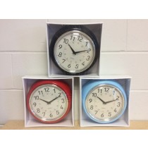 "Retro Wall Clock - 9.5"" Round ~ 3 colors"