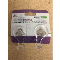Clear Shower Hooks with Suction Cup ~ 2 per pack