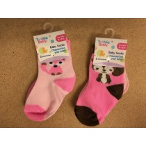 Baby Socks - 0-12 months ~ Girls ~ 2 per pack