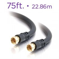 RG6 Black Coaxial Cable ~ 75' / 22.86M