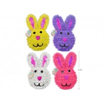 """Easter Tinsel Bunny Head Hanging Decoration ~ 12.25"""" x 7"""""""