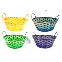 "Easter Bamboo Basket w/Handles ~ 9"" Round"