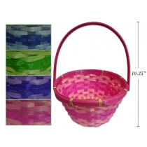 """Easter 2-Tone Round Bamboo Basket w/Moveable Handle ~ 10.25"""""""