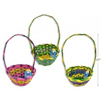 """Easter Round 3-Toned Bamboo Basket ~ 12""""H"""