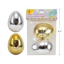 "Easter Fillable Eggs - 4"" Metallic Gold & Silver ~ 2 per pack"