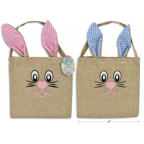 """Easter Burlap Embroidered Bunny Head Tote ~ 13"""""""