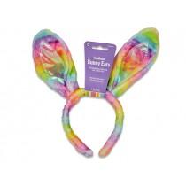 """Easter Rainbow Plush with Iridescent Bunny Ear Headband ~ 11.5"""""""