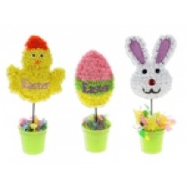 """Easter Tinsel Character in Flower Pot Tabletop Decor ~ 11"""""""