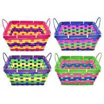 """Easter Square 3-Toned Bamboo Basket ~ 9"""" x 4-1/8"""""""