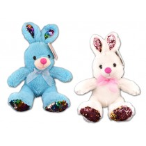 Easter Plush Sitting Bunny with Color Changing Feet & Ears ~ 13""