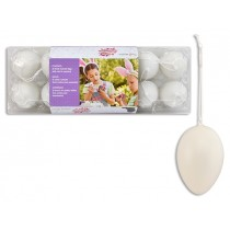 "Easter White Decorate your own Eggs with String in Egg Carton - 2-3/8"" ~ 12 per pack"