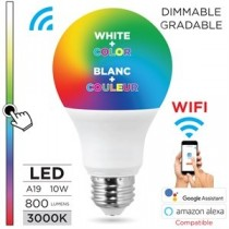 Smart WIFI A19 LED White + Color Light Bulb - Dimmable ~ 9W