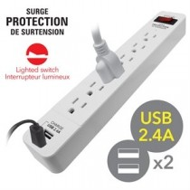 Power Bar 6 outlets with Surge Protection ~ 1.5' cord