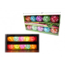 Floral Printed Cloth Lantern LED Stringlight Set - 10/pk ~ Battery Operated