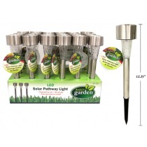 """Solar Stainless Steel LED Mini Pathway LIght Stakes 12.25"""" ~ 24 per display"""
