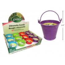 """Citronella Candle 2.5"""" in Tin Bucket ~ 12 per display"""