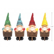 "Polyresin Garden Gnome with Welcome Sign ~ 3""W x 8""H"