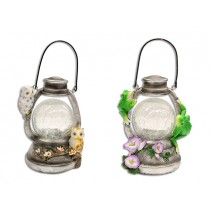 Solar Crackle Glass Hanging LED Lantern w/Poly Resin Characters ~ 6.5""