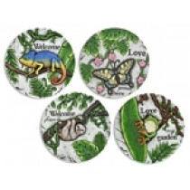 """Cement Painted Stepping Stone - 10"""" ~ 4 assorted"""