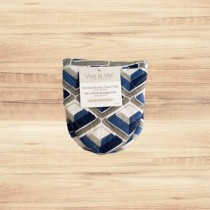 Shorty Oven Mitt with Silicone ~ Navy/Grey Print