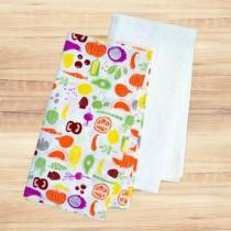 Tea Towels - 1 solid flat weave + 1 waffle fruit print ~ 2 pieces