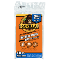"Gorilla Hot Glue Sticks for Glue Guns - 4"" Mini ~ 10 per pack"