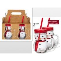 Snowman Mason Jar Style Glasses w/Straw - 450ml / 15.5oz ~ 2 per pack