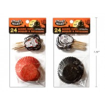 """Halloween 2"""" Baking Cups with Picks ~ 48 per pack"""