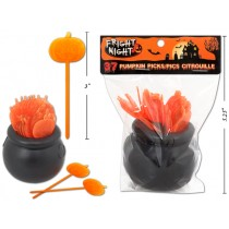 Halloween Plastic Pumpkin Picks in Caldron ~ 37 pieces
