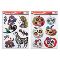 Halloween Day of the Dead Glitter Window Clings ~ 2 assorted