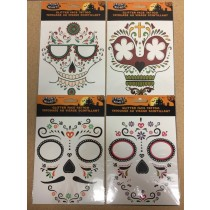 Halloween Day of the Dead Glitter Face Tattoo