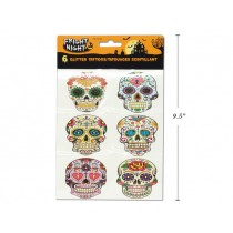 Halloween Day of the Dead Glitter Body Tattoos ~ 6 per pack