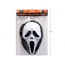 "Halloween PVC Screamer Mask with Shroud ~ 12.5"" x 7.5"""
