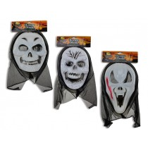 Halloween PVC Scary Mask with Shroud