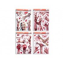 Halloween Bloody Zombie Window Clings ~ 4 assorted