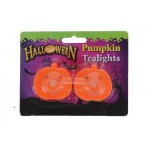 Halloween LED Pumpkin Shaped B/O T-Lite ~ 2 per pack