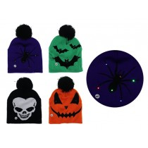 Halloween Kid's 6-LED Light-Up Knitted Hat with Pom Pom