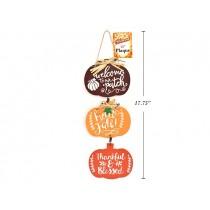 """Harvest MDF 3-Section Pumpkin Welcome Sign ~ 15""""L"""