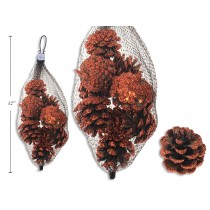 Harvest Copper Glitter Pinecones - 45mm ~ 10 per pack