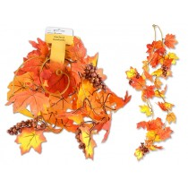 """Harvest Glitter Maple Leaves Garland with Berries ~ 68""""L"""