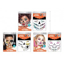 Halloween Metallic Glam Skull Face Tattoos