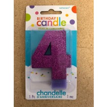 Numeral Glitter Candle ~ #4 Purple