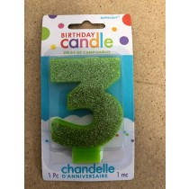 Numeral Glitter Candle ~ #3 Green