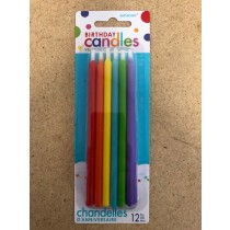"Birthday Candle - 5"" Tapered Primary Colors ~ 12 per pack"