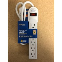 Power Bar w/Surge Protection ~ 6 outlets & 3' cord