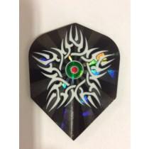 Dartworld Broken Glass ~ White Swirls with Green Bullseye