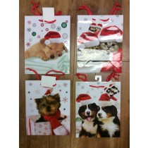 Medium Christmas Gift Bags ~ Puppies & Kitten