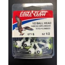 Eagle Claw 1/2oz Double Eye Jig Ball Head - 6/k ~ Chartruese / White